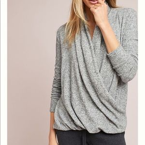 Anthropologie pure + good grey wrap top large